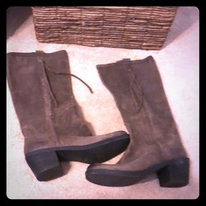 """Shoes - Suede tall boots. Size 11 wide calf. 1 1/2"""" heel"""